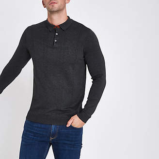River Island Dark grey cable long sleeve polo shirt