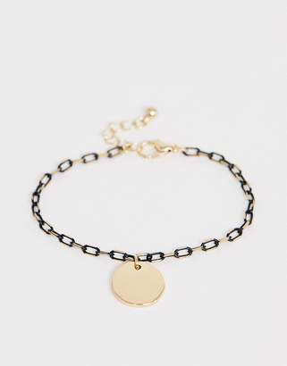 Asos Design DESIGN bracelet in delicate open link chain with black detail and disc charm in gold tone