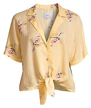 Rails Women's Marley Floral Tie Shirt Crop Top