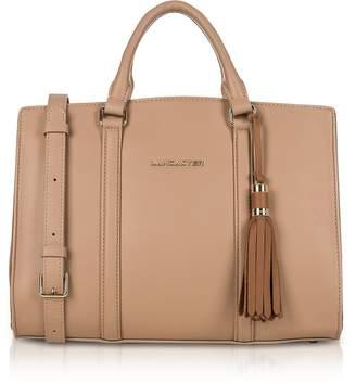 A.N.A Lancaster Paris Mademoiselle Nude/Hazelnut Leather Large Satchel Bag