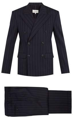 Maison Margiela Double Breasted Striped Wool Blend Suit - Mens - Blue