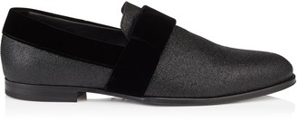 Jimmy Choo JOHN Black Fine Glitter Formal Slippers with Black Velvet Ribbon