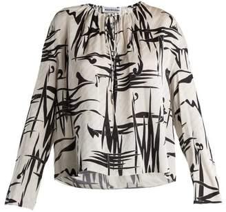 Balenciaga Abstract Print Logo Jacquard Silk Blouse - Womens - White Multi