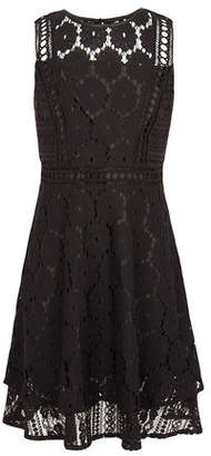 BCBGMAXAZRIA Multi-Lace Sleeveless Overlay Dress