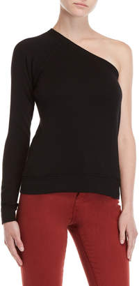 Pam & Gela Black One-Shoulder Sweatshirt
