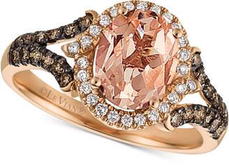 LeVian Le Vian Chocolatier Peach Moranite (1-1/3 ct. t.w.) & Diamond (3/8 ct. t.w.) Ring in 14k Rose Gold