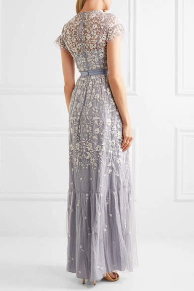 Needle & Thread - Meadow Embroidered Tulle Gown - Light blue 5