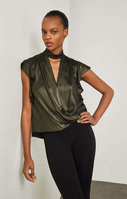 BCBGMAXAZRIA Metallic Faux Wrap Top