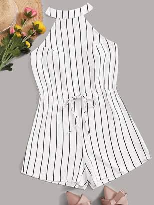 Shein Drawstring Waist Striped Playsuit