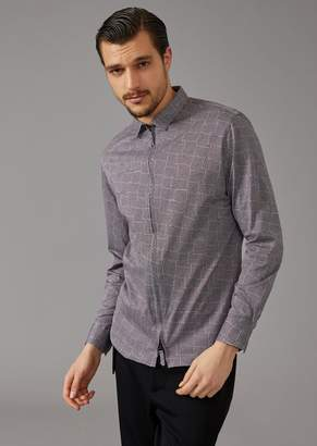 Giorgio Armani Slim Fit, Patterned Shirt In Mouline Jersey