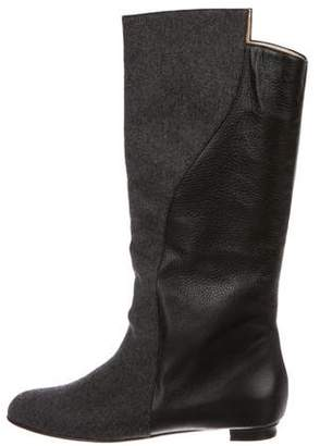 Manolo Blahnik Leather-Trimmed Mid-Calf Boots