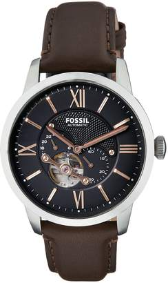 Fossil Men's ME3061 Townsman Mechanical Stainless Steel Watch with Brown Leather Band