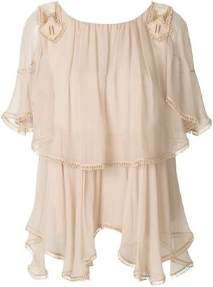 Chloé ruffled fringed blouse