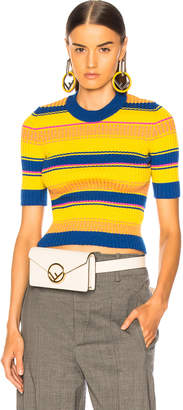 Maison Margiela Striped Short Sleeve Sweater