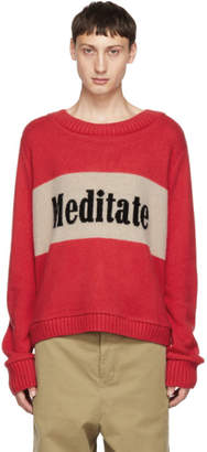 The Elder Statesman Red and Beige Cashmere Meditate Sweater