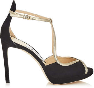 Jimmy Choo FAWNE 100 Black Suede and Champagne Liquid Mirror Leather Sandals
