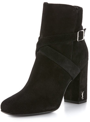 Saint Laurent Babies Suede Belted Bootie, Black $995 thestylecure.com