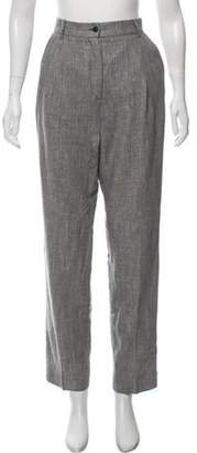 Valentino Woven High-Rise Straight-Leg Pants Grey Woven High-Rise Straight-Leg Pants