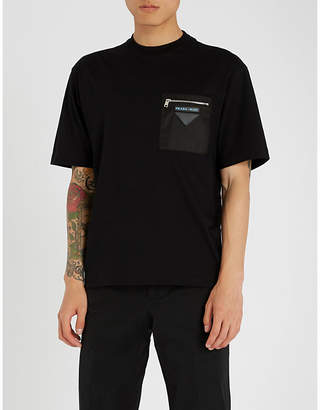 Prada Pocket-embellished cotton-jersey T-shirt