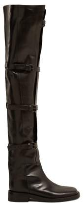 Ann Demeulemeester Buckled Over The Knee Leather Boots - Womens - Black