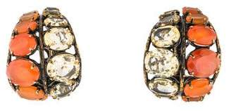 Iradj Moini Carnelian & Yellow Quartz Half Hoop Earrings