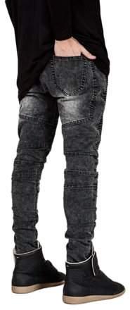 lifemakinggood Men Slim Fit Biker Jeans Designed Grey Straight Pant Denim Trousers Foot In