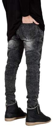 OUTAD Men Casual Fashion Trendy Designed Straight Slim Fit Jeans Pant Denim Trousers Elastic Jeans Pencil Shaped Pants