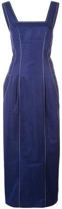 Derek Lam Square Neck Cotton Twill Cami Dress with Pegged Hem