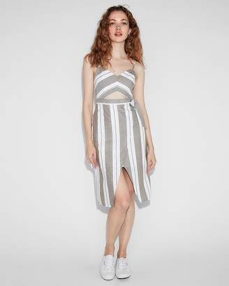 Express Petite Striped Cut-Out Midi Dress