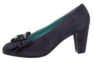 Thierry Rabotin Embellished Suede Round-Toe Pumps