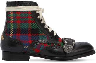Gucci Queercore Leather & Tweed Boots