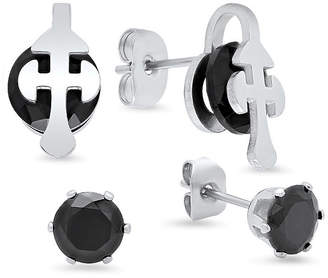 FINE JEWELRY Steeltime 2 Pair Black Cubic Zirconia Stainless Steel Earring Set
