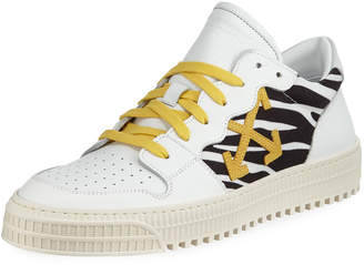 Off-White Off White Men's 3.0 Polo Mid-Top Zebra-Print Leather Sneakers