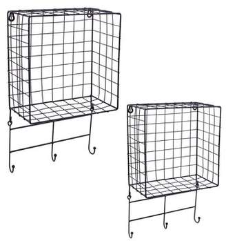 Rebrilliant Grid Floating Wall Shelves with Hooks 2 Piece Set Rebrilliant