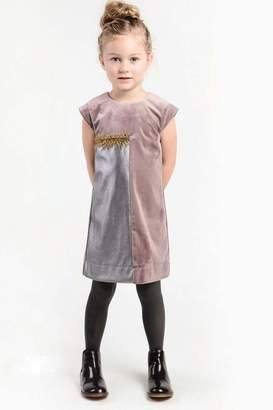 Imoga Gray Mauve Velvet Dress