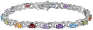 FINE JEWELRY Genuine Multi Color Stone Sterling Silver 7 Inch Tennis Bracelet