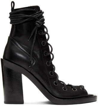 178f80c7e82d Ann Demeulemeester Black Lace-Up Heeled Sandals