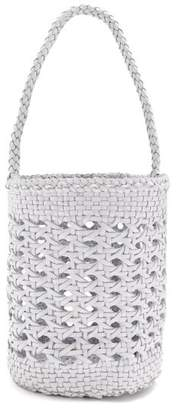 Dragon Optical DIFFUSION Cannage woven-leather bucket bag
