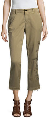 A.N.A Embroidered Chino Crop Capris