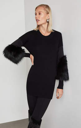 BCBGMAXAZRIA Faux Fur Cuff Tunic Sweater