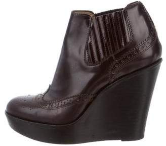 Burberry Leather Round-Toe Booties