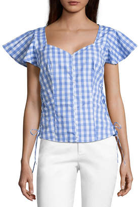 BELLE + SKY Short Sleeve Lace Up Side Corset Top