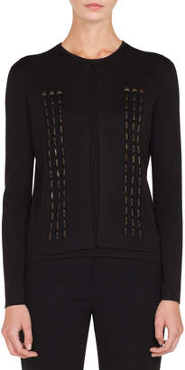 Akris Stone Window Embellished Short Knit Cardigan
