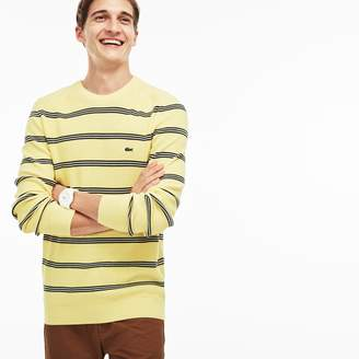 Lacoste Men's Crew Neck Striped Ribbed Sweater