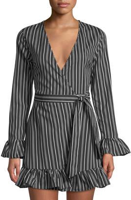 Allison New York Striped Long-Sleeve Ruffled Wrap Dress