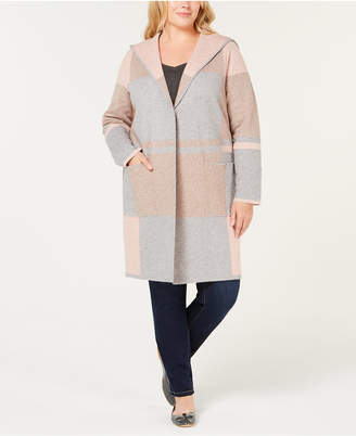 Charter Club Plus Size Colorblocked Hooded Sweater-Coat
