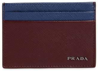 Prada Two Tone Saffiano Leather Card Holder