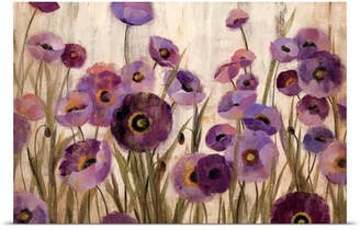 Great Big Canvas 'Pink and Purple Flowers' by Silvia Vassileva Painting Print