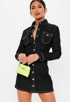 Missguided Black Denim Fitted Long Sleeve Dress, Black