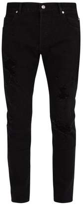 Balmain Distressed Mid Rise Straight Leg Jeans - Mens - Black